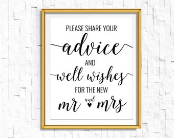DIY PRINTABLE Black Advice and Wishes Sign | Instant Download | Wedding Ceremony Reception Sign | Rustic Calligraphy | Print on Kraft | WB1