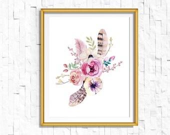 Instant Download Printable Floral Print   Boho Wall Art, Boho Wall Art, Tribal Woodland Watercolor Home Decor Boho Nursery Dorm Shabby Chic