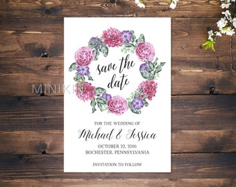 Floral Save The Date, Save The Date Cards, Wedding Invitation, Save The Date, Personalized Wedding, Green Wedding, Wedding Invitations x 20