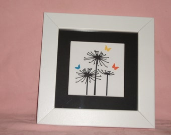 A Handmade Silhouette Picture of Seed Heads & Butterflies 6x6 Frame