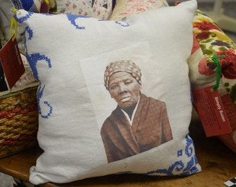 Vintage Fabric Harriet Tubman Pillow by Susan Marteney