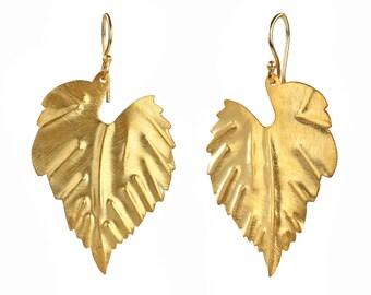 Gold Plated Leaf Earrings