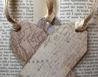 Limited Edition! Map Style Double-sided Laminated Bookmarks - Vintage Design, Luggage Tag Style, Great Gift!