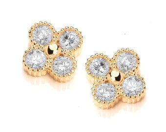 Rose Gold and Cubic Zirconia Cluster Earrings