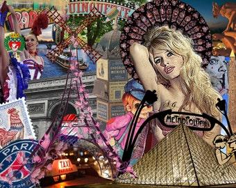 Signed urban photomontage: PARIS - print on plexiglass 40 x 30 cm