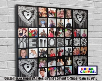 Memories framed personalised bespoke Canvas Print with 32 pictures