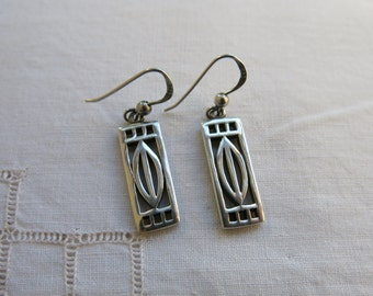 Sterling silver Mackintosh style drop earrings Arts and Crafts, Glasgow Style
