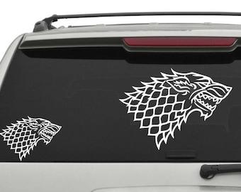 House Stark Car Decal, Wolf Car Decal, King Jon Snow Car Decal, Stark Car Decal, Bastard