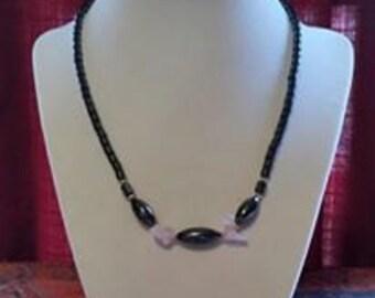 Hematite necklace with rose quartz