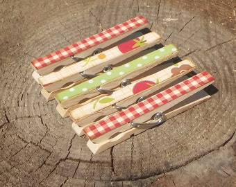 Fruits and Veggies Gingham Clothespin Magnets Clips Set of 5