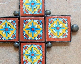SALE Big Mexican cross wall decor vintage look hand made of ceramic tile and metal tile design with blue flowers