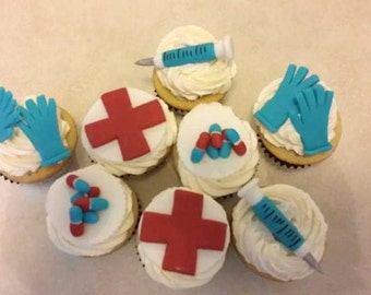 Medical themed cupcake toppers
