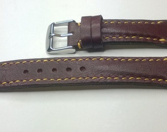 Hand made leather watch strap, burgundy and yellow
