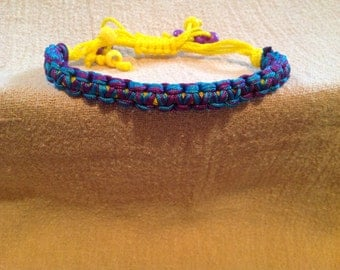 Turquoise and Purple Square Knot Macrame Bracelet