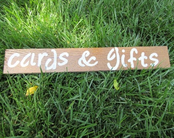Custom personalized wedding card and gifts wood sign