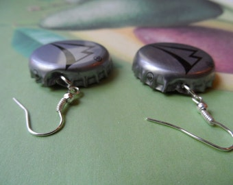 Silver 'B' Bottle Cap Earrings