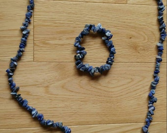 Blue stone necklace and bracelet set, Boho, Beach, summer style