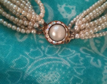 Classic beauty 10 strand pearl necklace