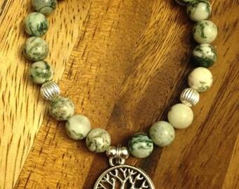 Tree of Life on Moss Agate Bracelet