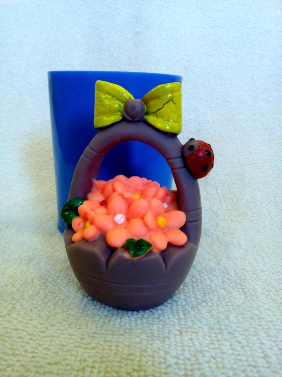 Basket Making Supplies Basket Molds : Flower basket silicone mold for soap and candles