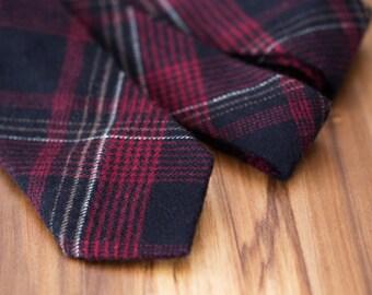 Crimson Plaid Wool Tie