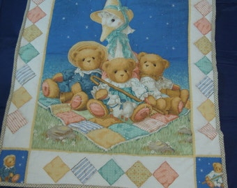 Mother Goose and Teddy Bear Baby Quilt - Hand Quilted Daisy Kingdom Top w/ Cotton Back
