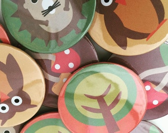 Woodland Badges (Set of 4) - Party, Owl, Hedgehog, Toadstool, Tree, Pin Badges, Party Favour
