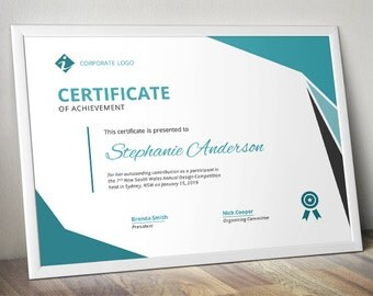Modern corporate business certificate template for MS Word (docx)