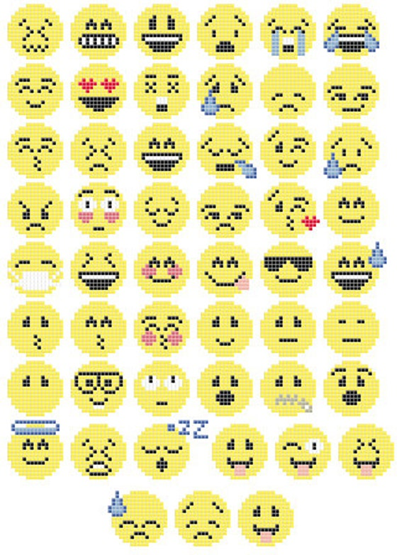 emoji cross stitch  perler bead pattern by lbcraftsuk on etsy