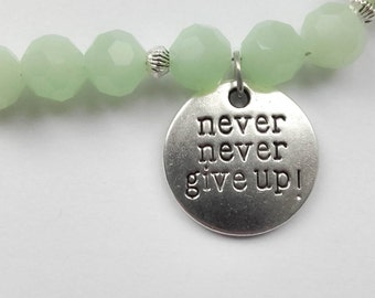 Green Bead Bracelet  'Never give up'