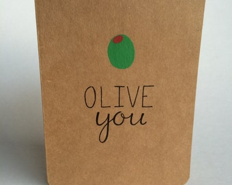 Olive You Greeting Card | I Love You | Love Card