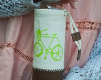 Neon Green Bike Water Bottle