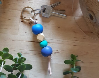 Blue Teal Polymer Clay Leather Keyring
