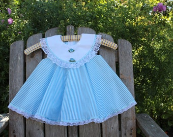 Blue and White Pinstripe Party Dress