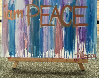 I AM PEACE positive affirmation painting by Mecca