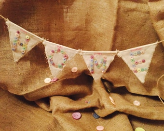 Handmade hessian and button bunting - Home, where we're always together