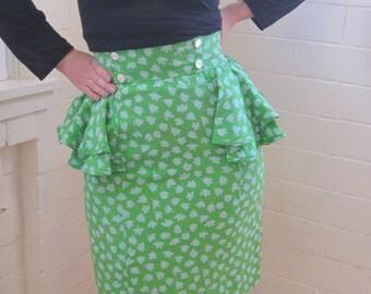 Vintage 1980s peplum green wiggle skirt - XS