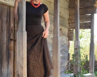 Brown skirt  Aline skirt Wool skirt maxi Cable knit skirt Elastic waist skirt Long flared skirt  Winter skirt High waisted skirt Chunky knit