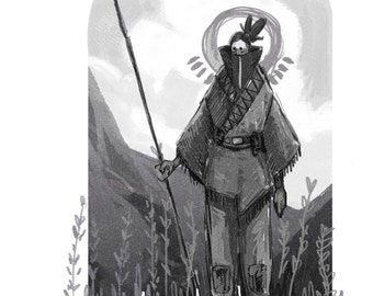The Nomad   A4 Digital Illustration Print   Not All Those That Wander Are Lost