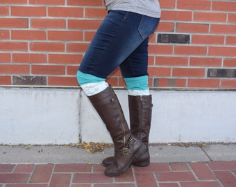 Boot toppers, boot cuffs kelly green lacy boot toppers