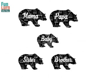 Mama Bear SVG, Papa Bear SVG,Bear Family ,svg png dxf eps for Silhouette Cameo, Cricut