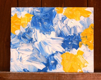 "DAISY SKIES Original Oil and Acrylic Abstract Painting on 14"" X 11"" Canvas Panel"