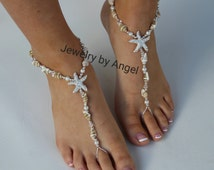 Sea Shell Starfish Foot Jewelry Sandal Anklet Wedding Foot Jewelry Slave Anklet Starfish Foot Thong  Beach Bridal Barefoot Bridesmaid Gift