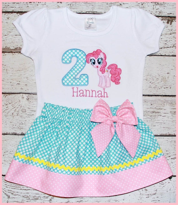 My Little Pony Pinkie Pie  Birthday Skirt outfit Name and age included