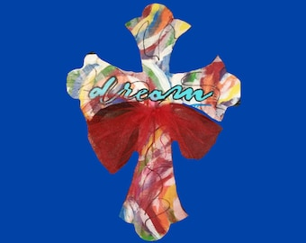 Multi-colored Wooden Cross with Dream