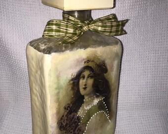 Handmade Decoupage Glass Decorative Bottle