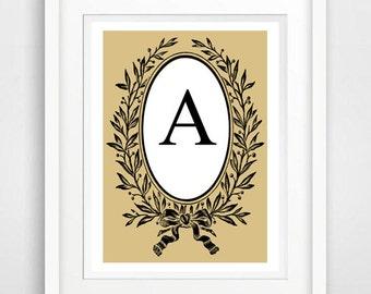 CUSTOM Black Letter,  monogram name print, green art print, initial A, wall art, cute digital download L, Printable Friend Gift, black white