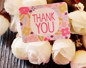 18 Pretty Pink Thank You Stickers