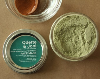 Matcha & French Green Clay Mask / Green Facial Mask for Acne / Vegan Clay Mask/ All Natural Vegan Face Mask/ Green Face Mask/ All Skin Types