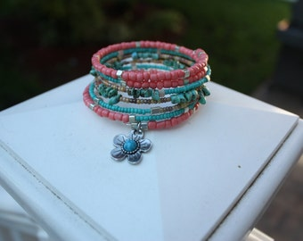 Flower Power Multi Layer Boho Beaded Wrap Bracelet with Charm